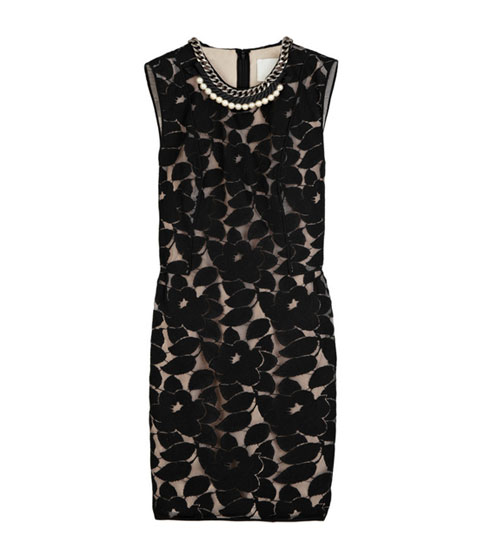 "3.1 phillip lim embellished lace-overlay dress, $525 <a href=""http://www.net-a-porter.com/product/80122"">online</a>."