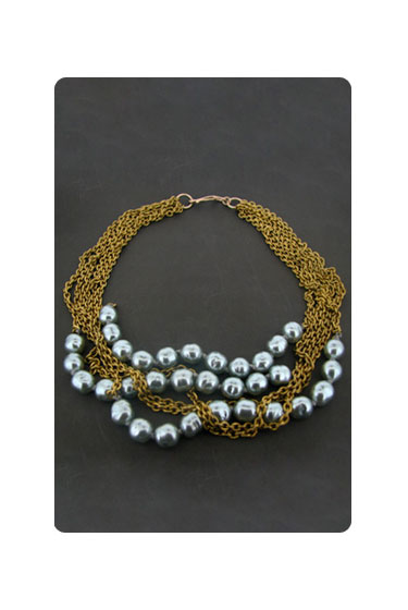 "Lori Leavitt Collection vintage blue-pearl necklace, $286 <a href=""http://www.shopgoldyn.com/jewelry-lori-leavitt-collection-vintage-blue-pearl-necklace-pid-1837.cfm"">online</a>."