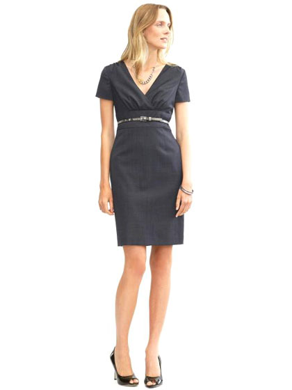"Banana Republic tall lightweight wool navy textured sheath dress, $150 <a href=""http://bananarepublic.gap.com/browse/product.do?pid=770521002&tid=braff2178999&ap=2&siteID=brafcid105"">online</a>."