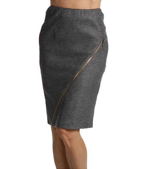 "Alexander McQueen McQ heather-gray pencil skirt with zipper, $209 <a href=""http://couture.zappos.com/n/p/dp/68671975/c/45998.html"">online</a>."