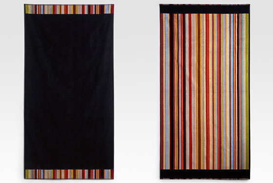 "Paul Smith reversible beach towel, $135 <a href=""http://www.saksfifthavenue.com/main/ProductDetail.jsp?FOLDER%3C%3Efolder_id=282574488339283&PRODUCT%3C%3Eprd_id=845524441760716&R=5052013380018&P_name=Paul+Smith&sid=12974949F2A6&bmUID=1277561224551"">online</a>."
