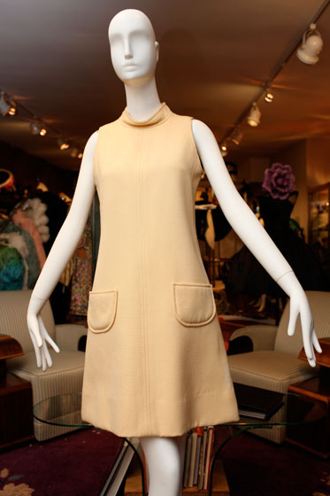 <strong>Courreges cream wool day dress with elliptical-patch pockets, $485</strong><br>