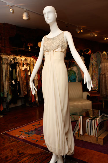 <strong>Harvey Berin ivory chiffon embroidered empire gown, $1,650</strong><br>