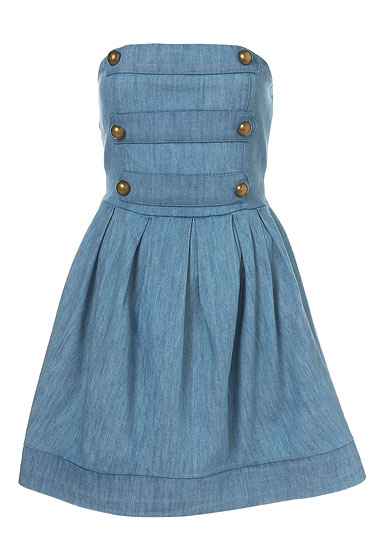 "Love military strapless denim dress, $68 at <a href=""http://nymag.com/listings/stores/topshop/"">Topshop</a> and <a href=""http://us.topshop.com/webapp/wcs/stores/servlet/ProductDisplay?beginIndex=0&viewAllFlag=&catalogId=32051&storeId=13052&productId=1795976&langId=-1&categoryId=&parent_category_rn="">online</a>."