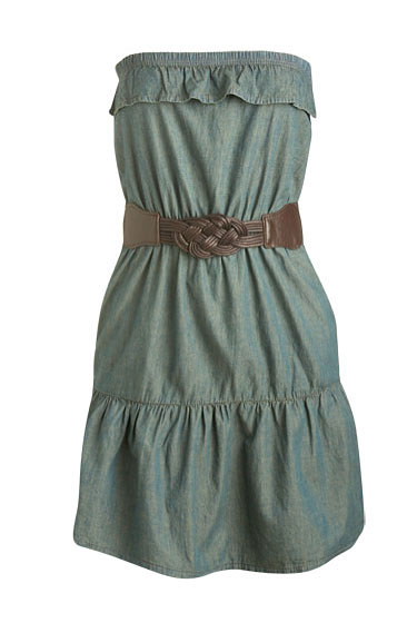 "Wet Seal tube ruffle denim dress, $26.50 <a href=""http://www.wetseal.com/catalog/product.jsp?categoryId=104&subCategoryId=189&productId=32150&source=pf&ref=ws_aff_pf_k108283"">online</a>."