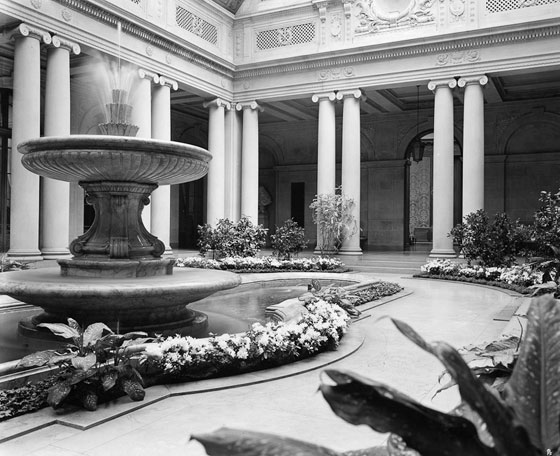 The Garden Courtyard during planting trials in August of 1935, a few months before the public opening.