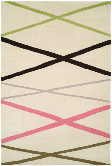 The Meyers' rugs are like abstract art; this design is called Hula Hut.