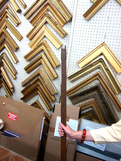 "Robyn Pocker took me on a tour of her framing and print store, <a href=""http://nymag.com/listings/stores/j_pocker_and_son/"">J. Pocker & Son</a>, on the Upper East Side. Her family has being doing business here for 85 years; this wooden stick, used to pull down frames, belonged to her grandfather."