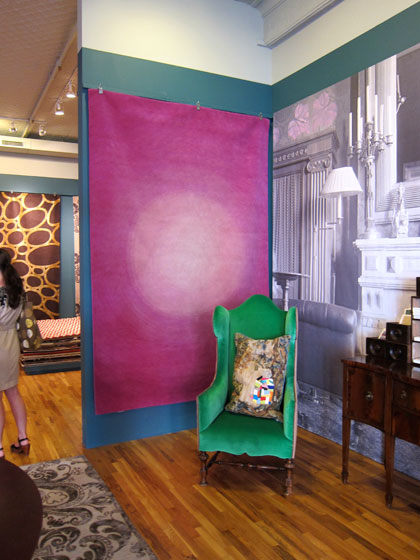 I love his Stage Light Lavender rug, shown here. His collection is great — it's got everything. The designs are graphic and geometric, and available in both bold and subtle color palettes. All of the carpets are made of hand-knotted Tibetan wool and silk, and they <em>feel</em> delicious.