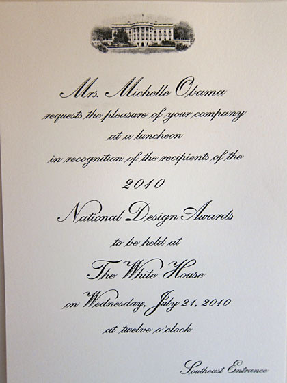 The excitement began with the invitation, and of course I saved everything: the envelope, my place card, and then whatever I could legally scavenge from the White House. I made a beeline first to the ladies' room, where I thought they might have paper towels with the Presidential Seal. They did. I only took one.