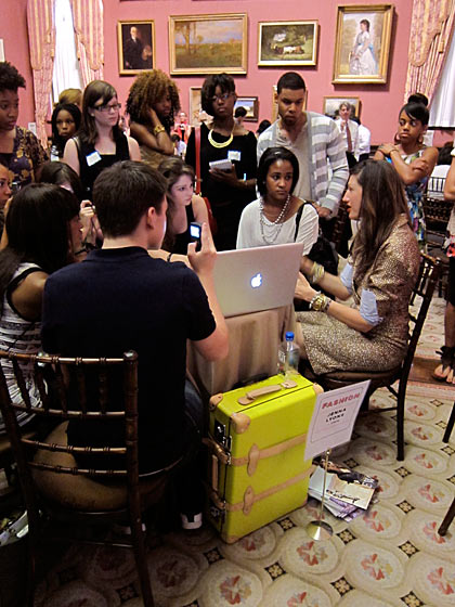 The Teen Design Fair was held in the Grand Salon of D.C.'s Renwick Gallery, where each designer had a table. Jenna Lyons was the most popular, as you can see. Who doesn't love J.Crew?