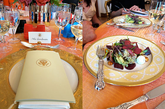 On left, you can see the printed menu and program for the luncheon. On right, the first course: a delicious farmstand green salad with local herbed goat cheese and spicy almonds. It was so fresh, it had to have come from Mrs. Obama's vegetable garden.