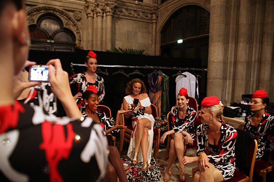DVF-clad Rockettes hang out backstage with DVF herself.