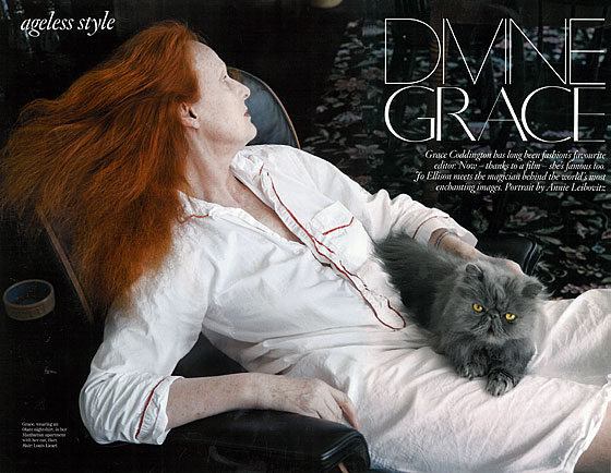 One of the reasons Grace may have ageless style is because if there's one thing that never goes out of style, it's a nice fluffy cat that looks like it just came out of the dryer. And Grace loves those.