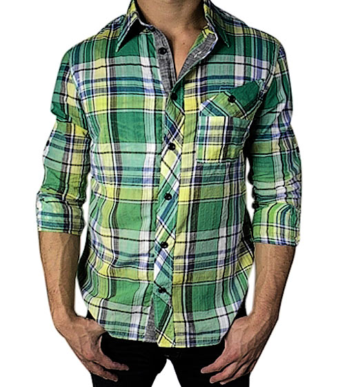 "J.C. Rags checkered button-up shirt, $95 <a href=""http://www.shopkitson.com/index.php?pageId=2&product_sku=jc-rags-mens-green-checkered-button-up-shirt-green"">online</a>."