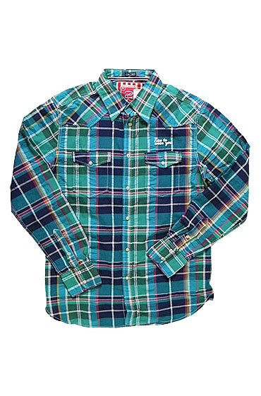"Just a Cheap Shirt teal woven plaid long-sleeve button-up shirt, $78 <a href=""http://www.shopkitson.com/index.php?pageId=2&product_sku=just-a-cheap-shirt-mens-teal-woven-plaid-shirt-teal&source=shopstyle"">online</a>."