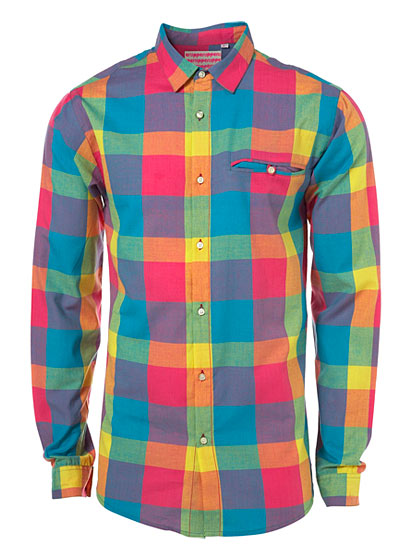 "Topman Upper Mersey check shirt, $72 at <a href=""http://nymag.com/listings/stores/topshop/"">Topman</a> or <a href=""http://us.topman.com/webapp/wcs/stores/servlet/ProductDisplay?beginIndex=40&viewAllFlag=false&catalogId=32052&storeId=13051&categoryId=134483&parent_category_rn=133615&productId=1597843&langId=-1"">online</a>."