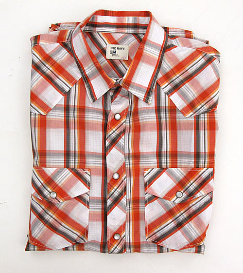 "Old Navy plaid Western shirt, $19.50 <a href=""http://oldnavy.gap.com/browse/product.do?cid=6920&vid=&pid=750962&scid=750962042"">online</a>."