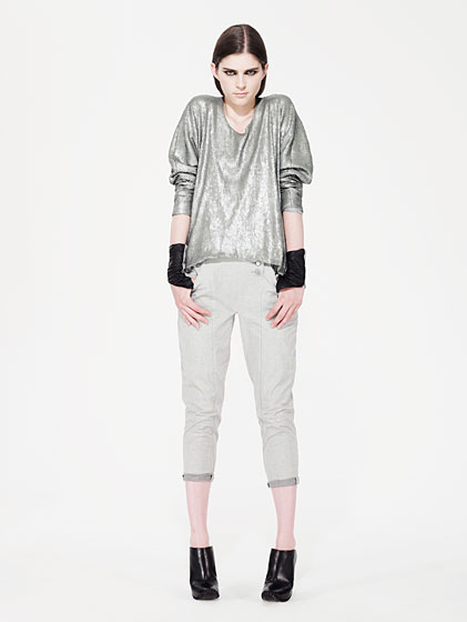 Mojito jersey sequins top, $335; nickel washed stretch cotton twill pants, $295.