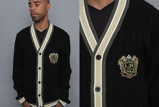 "LRG The Study Hall cardigan, $98 <a href=""http://www.karmaloop.com/products.aspx?ProductID=108326&VendorCode=LRG"">online</a>."