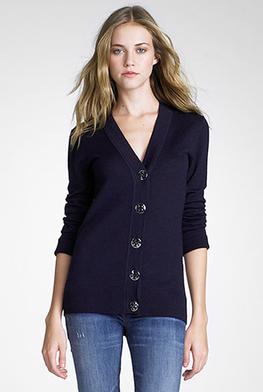 "Tory Burch Simone cardigan, $225 at <a href=""http://nymag.com/listings/stores/tory_by_trb/"">Tory Burch</a> or <a href=""http://www.toryburch.com/toryburch/browse/productDetail.jsp?icProduct=25103101&icSort=&icCategory=cat60006"">online</a>."
