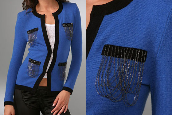 "Torn by Ronny Kobo Coco cardigan, $275 <a href=""http://www.shopbop.com/coco-cardigan-cardi-torn-by/vp/v=1/845524441873257.htm?fm=search-shopbysize"">online</a>."