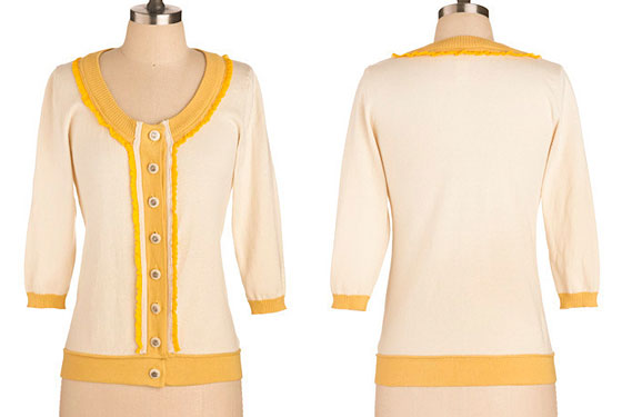 "Cardigan Like a Sunset, $59.99 <a href=""http://www.modcloth.com/store/ModCloth/Womens/Cardigan+Like+a+Sunset"">online</a>."