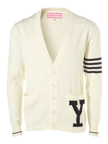 "Topshop Upper Varsity cardigan, $98 at <a href=""http://nymag.com/listings/stores/topshop/"">Topshop</a> or <a href=""http://us.topman.com/webapp/wcs/stores/servlet/ProductDisplay?beginIndex=0&viewAllFlag=&catalogId=33059&storeId=13051&categoryId=207644&parent_category_rn=207520&productId=1720085&langId=-1"">online</a>."