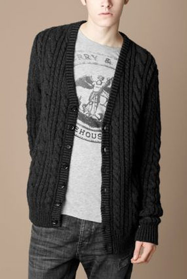 "Burberry wool and cashmere cable knit caridgan, $495 at <a href=""http://nymag.com/listings/stores/burberry00/"">Burberry</a> or <a href=""http://us.burberry.com/product/index.jsp?productId=4081602"">online</a>."