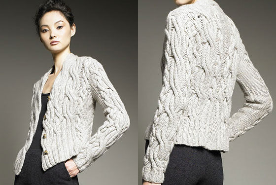 "TSE cable-knit cashmere cardigan, $995 at <a href=""http://nymag.com/listings/stores/bergdorf_goodman01/"">Bergdorf Goodman</a> or <a href=""http://www.bergdorfgoodman.com/store/catalog/prod.jhtml?itemId=prod59010106&eItemId=prod59040172&cmCat=search&searchType=MAIN&parentId=&icid=&rte=%252Fsearch.jhtml%253FN%253D0%2526Ntt%253Dcardigan%2526_requestid%253D10852"">online</a>."