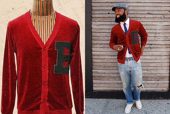 "BKc Big B cardigan, $140 at <a href=""http://nymag.com/listings/stores/the-brooklyn-circus/"">The Brooklyn Circus</a> or <a href=""http://thebkcircus.com/bkc/shop/big-b-cardigan-red/"">online</a>."
