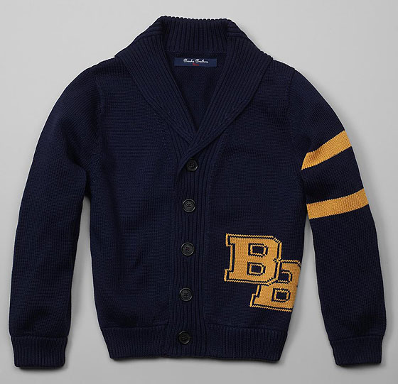 "Brooks Brothers Supima BB Intarsia cardigan, $79.50 <a href=""http://www.brooksbrothers.com/IWCatProductPage.process?Merchant_Id=1&Section_Id=361&Product_Code=T352&Parent_Id=1036&CMP=AFC-NU4859254343"">online</a>."