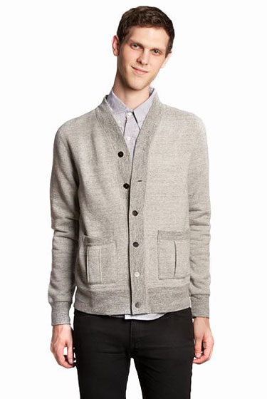 "Nigel Cabourn reversible sweat cardigan, $630 at <a href=""http://nymag.com/listings/stores/opening-ceremony02/"">Opening Ceremony</a> or <a href=""http://www.openingceremony.us/products.asp?menuid=1&productid=21935&key=cardigan"">online</a>"