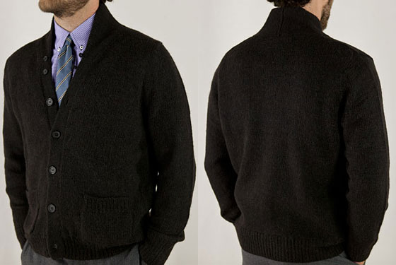 "Billy Reid Carolina cardigan, $395 <a href=""http://www.billyreid.com/?cat=36"">online</a>."