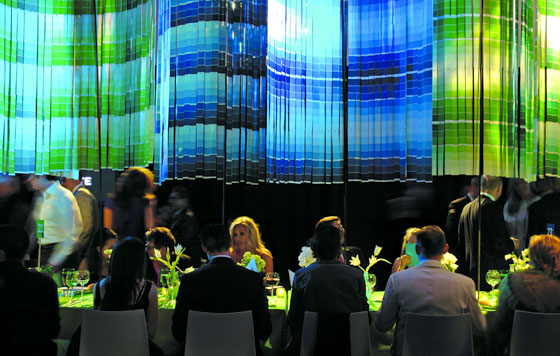 For one of his events, David created a backdrop composed of different hues of paint chips.