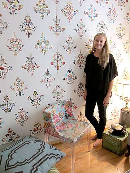 "I first saw <a href=""http://paytonturner.com/index.html"">Payton Cosell Turner</a>'s work in Carol McFadden's West Village townhouse, where she did a wall covering in McFadden's bedroom and dressing room. The paper is not printed, but actually made of repeat patterns produced using individual stickers. Here is Payton in her own wallpapered living room."