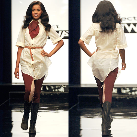 "A.J. takes the fall for his unattractive shirtdress. ""The biggest problem is the proportion ... it doesn't have any sex appeal, has no design, the colors are ghastly,"" said Nina (she was referring to the whole collection). ""There's no scale, there's no volume … it's not interesting,"" added Michael.  The sad thing about A.J.'s loss, as he pointed out, is that he completely subsumed his own aesthetic in order to fit with the team. Heidi calls his design an ""ill-fitting flight-attendant shirtdress."" And for that, he is out!"