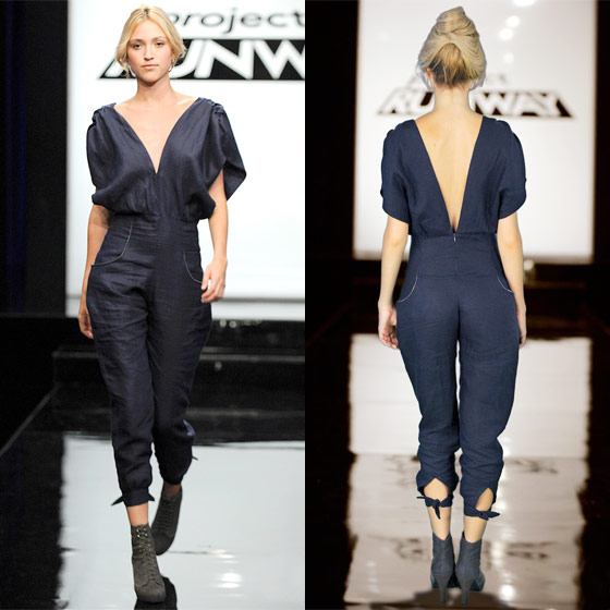 "Gretchen's navy jumpsuit wins the competition, and after taking the crown last week, she's now the clear front-runner. Heidi says that Gretchen's model ""looks like a cool girl,"" and she also likes that the front can be worn lower or higher (though isn't the high still pretty low?). ""I love that you can open the front and <em>reveaaaal</em>,"" gushes Heidi. Michael calls her ""a modern girl from her head to her toes,"" and Joanna likes the ""effortless ease"" that the look exudes. So Gretchen's design ends up in Times Square, 40 feet high, and she cries when she sees it, which is very sweet. Yay for Gretchen and her pretty, pretty hair."