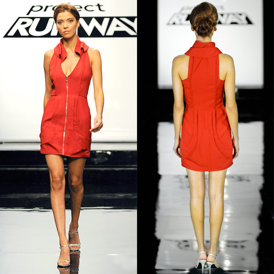 "Valerie <em>almost</em> pulls off the win with her architectural red dress, which reminds us of a colorful version of a modest Helmut Lang. ""It has simplicity, but it has interest,"" observes Michael. Joanna, who is also wearing an architectural red dress, says it's ""like a really good friend."" We'd buy this dress, which is our highest compliment. Good work, Valerie!"