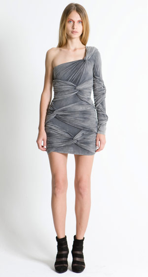 Cold as Ice one-sleeve twisted dress, $366.