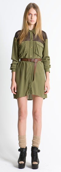Utility mesh-shirt dress in army green, $342.