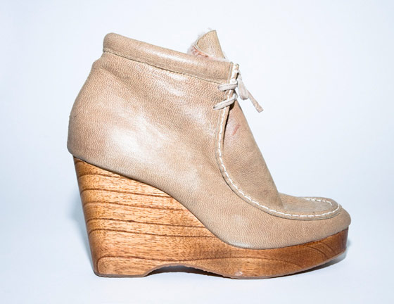 High shearling wedge in nude, $484.