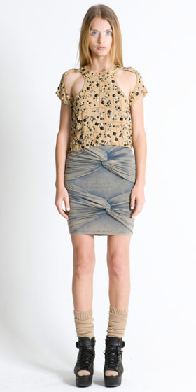 Heavy Metal embellished cut-out top, $389; Cold as Ice high-waist twisted skirt, $248.