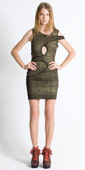 Gold Texture multi-panel dress, $342.