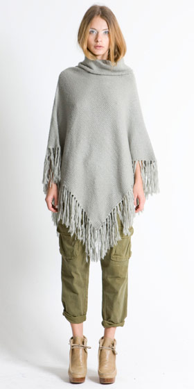 Chunky knit fringed poncho in dove grey, $307; Utility pocket pant, $248.