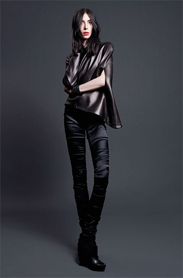 Work for Love cape top, $715; New Age hand-seamed leggings, $296.