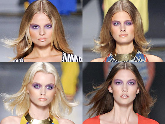 Dusty purple lids and shimmery gold lips at Etro.