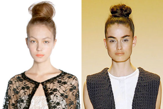 Tall buns at Alice + Olivia and ADAM.
