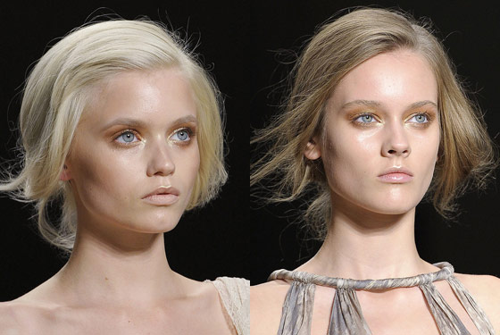 Dewy cheeks, golden eyes, and nude lips at Donna Karan.