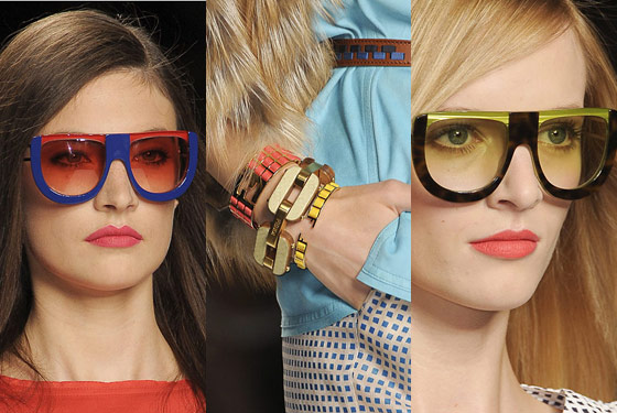 Statement sunglasses and must-have bracelets at Fendi.